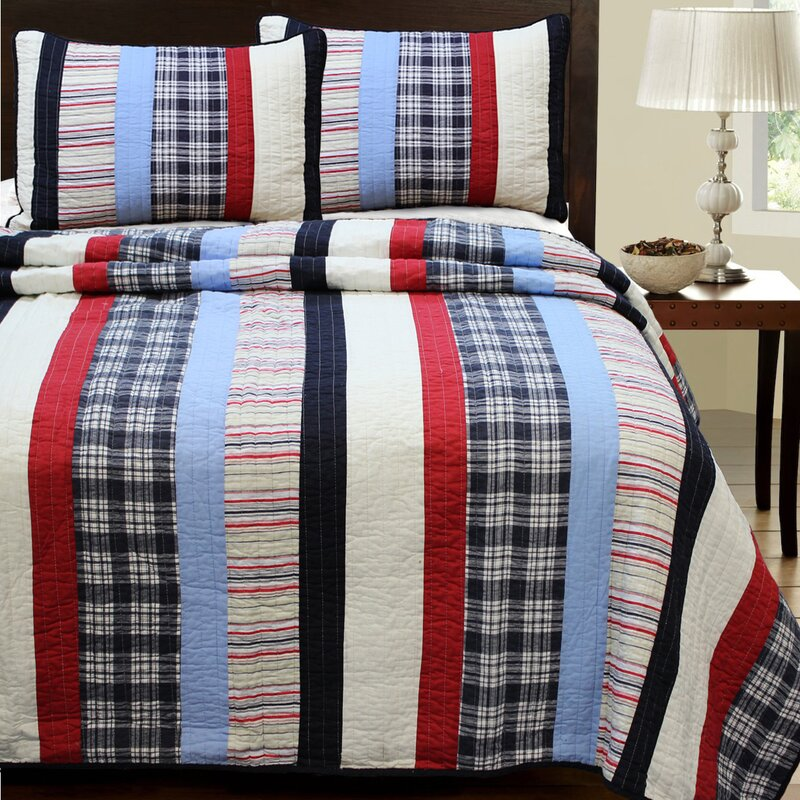 cozy line home fashion ronnie varsity 3 piece striped quilt set