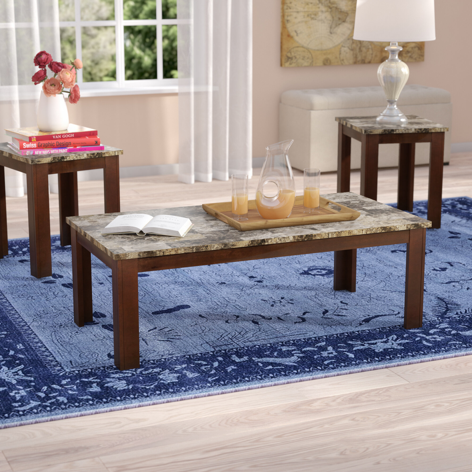 Charlton Home Colmer 3 Piece Coffee Table Set in Brown & Reviews
