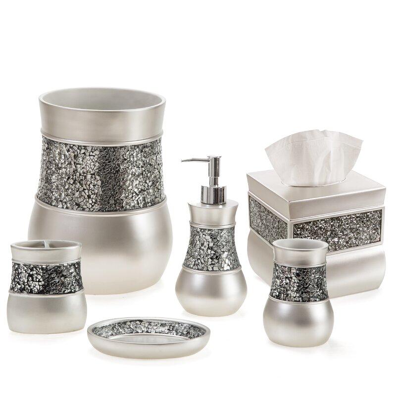 Keira Brushed Nickel 6 Piece Bathroom Accessory Set