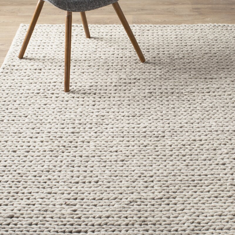 Mercury Row Dunfee Chunky Wool Cable Off White Area Rug