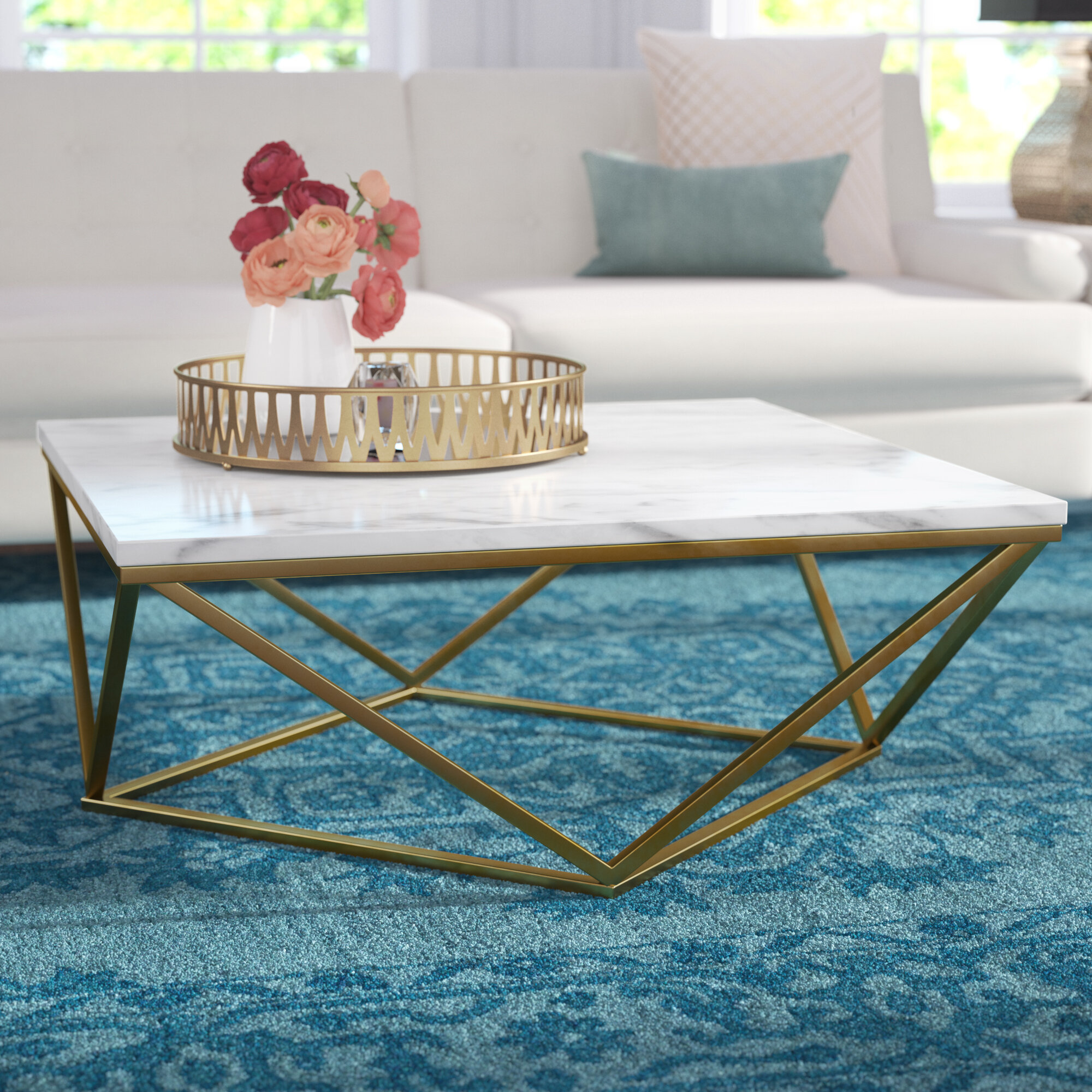Willa Arlo Interiors Robeson Marble Coffee Table & Reviews | Wayfair