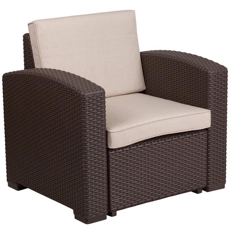 Breakwater Bay Clifford Faux Rattan Chair With Cushion Reviews Wayfair