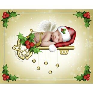 the christmas angel graphic art print - Black Christmas Angels