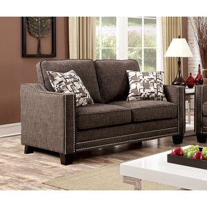 Rosy Nailhead Fabric Loveseat by A&J Homes Studio