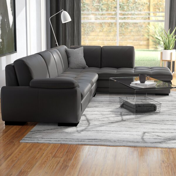 Wayfair All Modern: Jerald Leather Sectional & Reviews