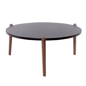 Cayeman Recycled Leather Round Coffee Table by Corrigan Studio