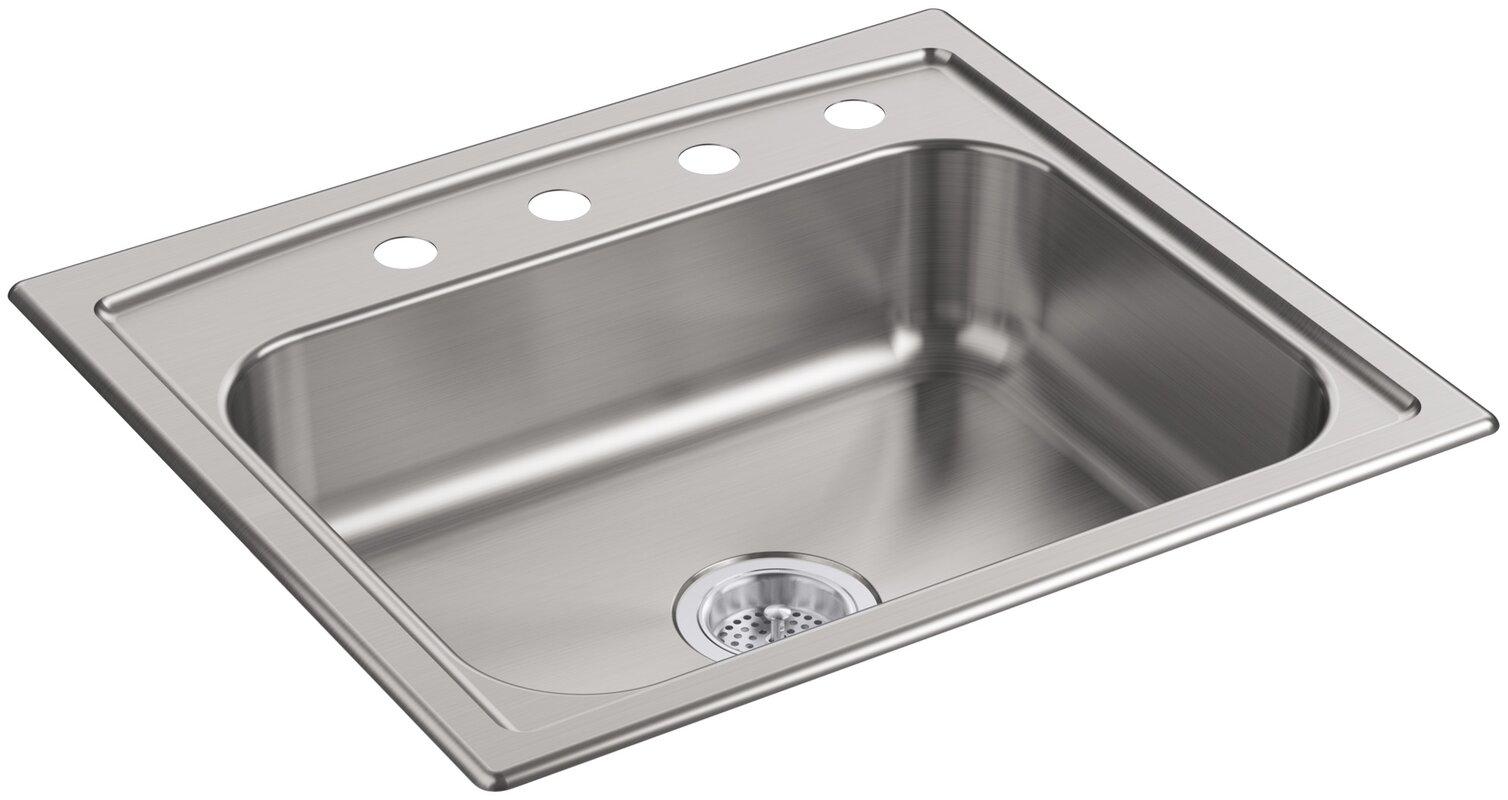 toccata 25   x 22   x 6   top mount single bowl kitchen k 4011 4 na kohler toccata 25   x 22   x 6   top mount single bowl      rh   wayfair com