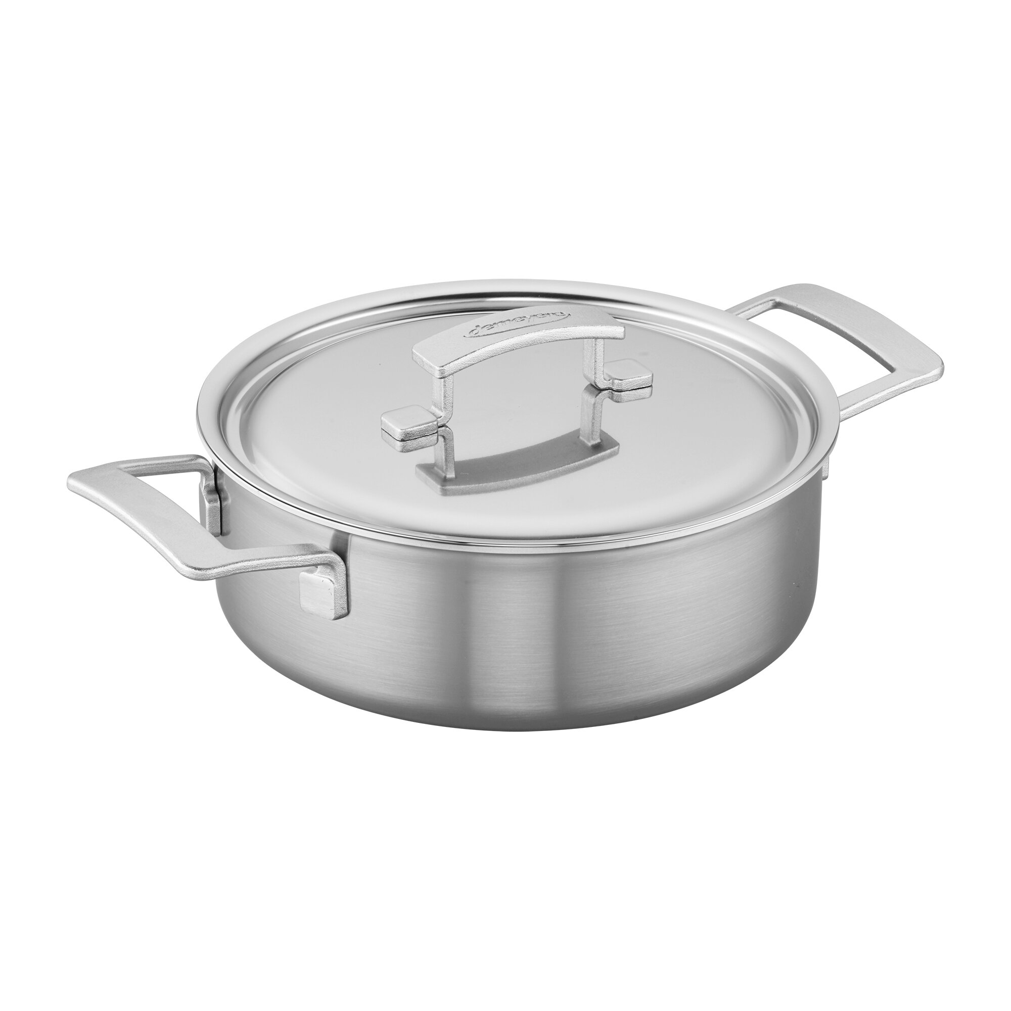 Demeyere Industry 4 Qt Stainless Steel Deep Paella Pan With Lid