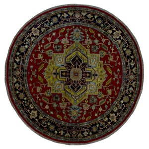 One-of-a-Kind  Roselle Oriental Round Hand Woven Red Area Rug
