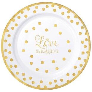 Wedding Premium Plastic Dinner Plate (Set of 10)  sc 1 st  Wayfair & Polka Dot Dinner Plates   Wayfair