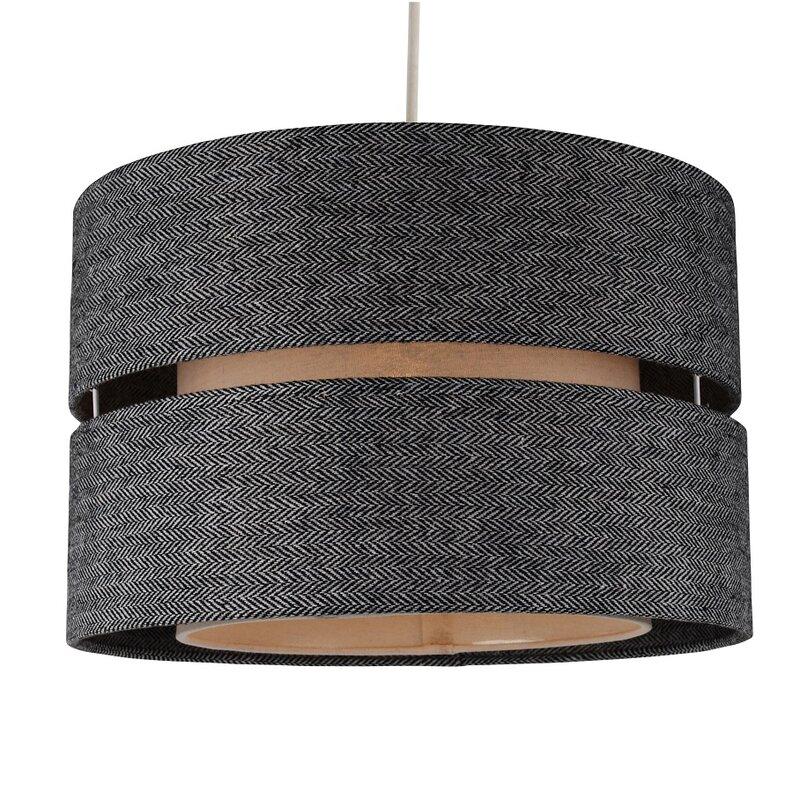 Ceiling lamp shades wayfair modern large herringbone 34cm fabric drum pendant shade greentooth Choice Image