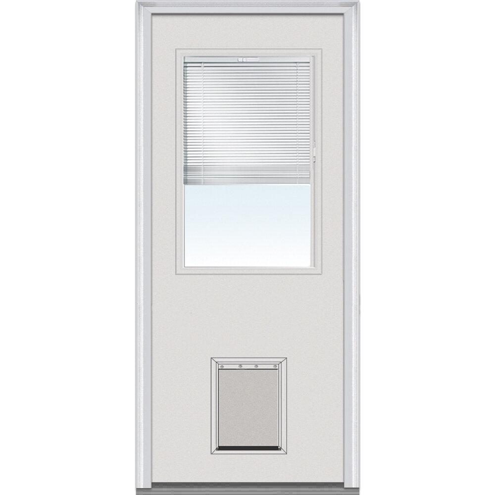Verona Home Design Pet Door Primed Fiberglass Prehung Front Entry