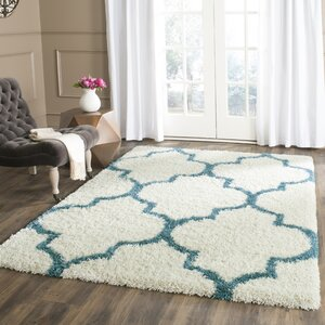 Kids Off-White And Teal Shag Area Rug