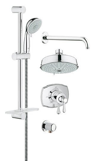 Default nameGrohe GrohFlex Thermostatic Tub and Shower Faucet   Reviews   Wayfair. Black Shower Head And Faucet. Home Design Ideas