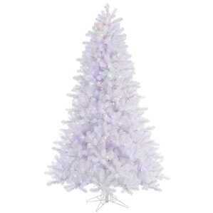 85 crystal white pine christmas tree with 900 led multi colored lights with stand - White Christmas Tree With Colored Lights