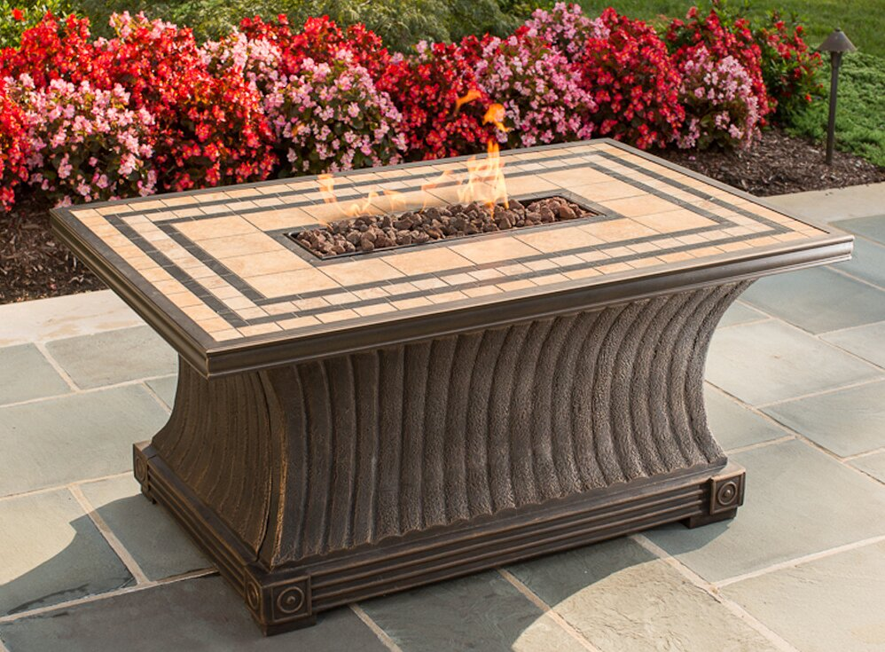 Charming Tuscan Porcelain Top Stainless Steel Propane Gas Fire Pit Table