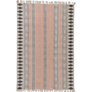 Hand-Woven Coral/Navy Area Rug by Ian Snow