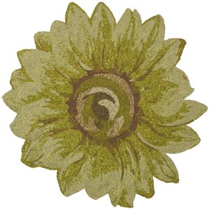 Angelique Sunflower Hand Tufted Green Area Rug