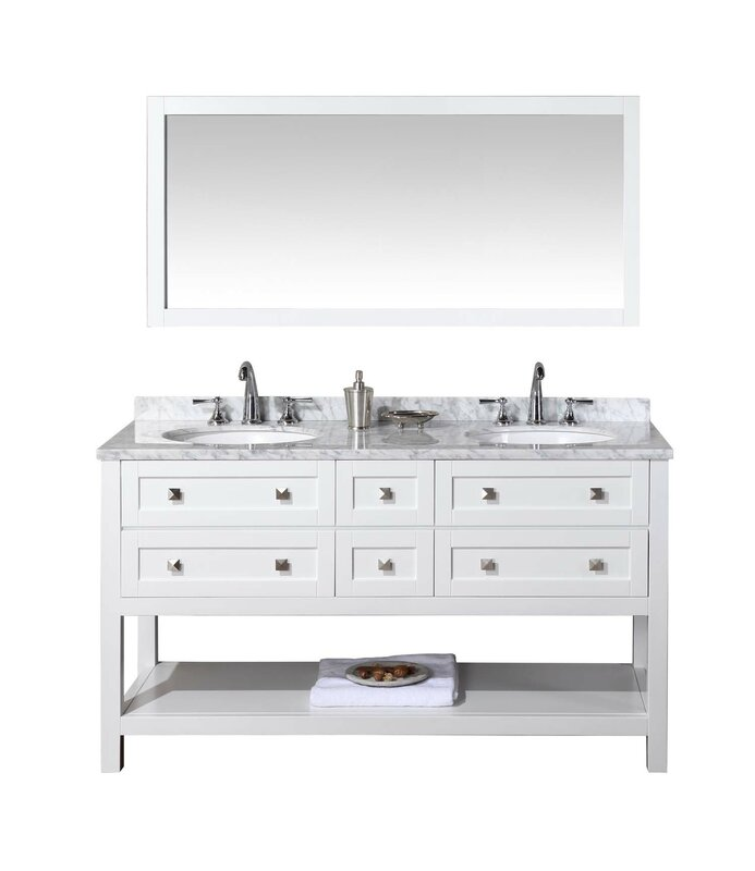 Whaley 60 Double Sink Bathroom Vanity Set With Mirror