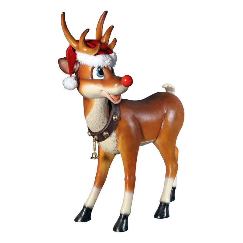 Christmas Statue Decorations: Design Toscano Santa's Christmas Red-Nosed Reindeer Statue