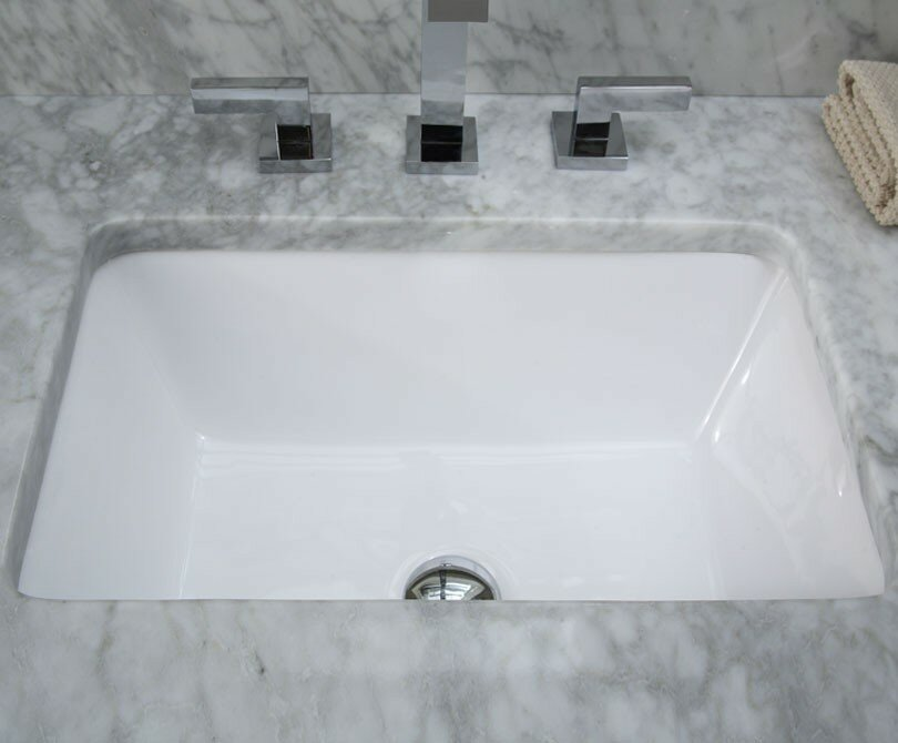 Ryvyr Ceramic Rectangular Undermount Bathroom Sink with Overflow ...