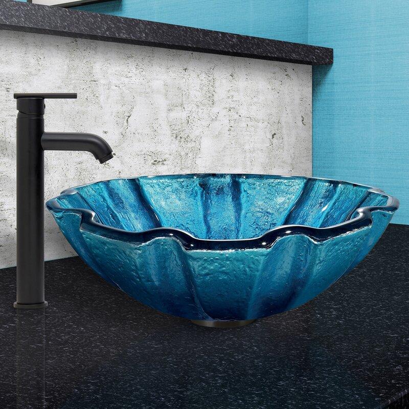 VIGO Mediterranean Seashell Glass Circular Vessel Bathroom Sink with ...