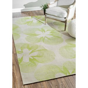 Nepalese Shannon Floral Hand Knotted Green Area Rug