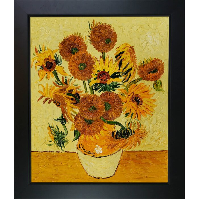 Tori Home Vase With Fifteen Sunflowers By Vincent Van Gogh Framed