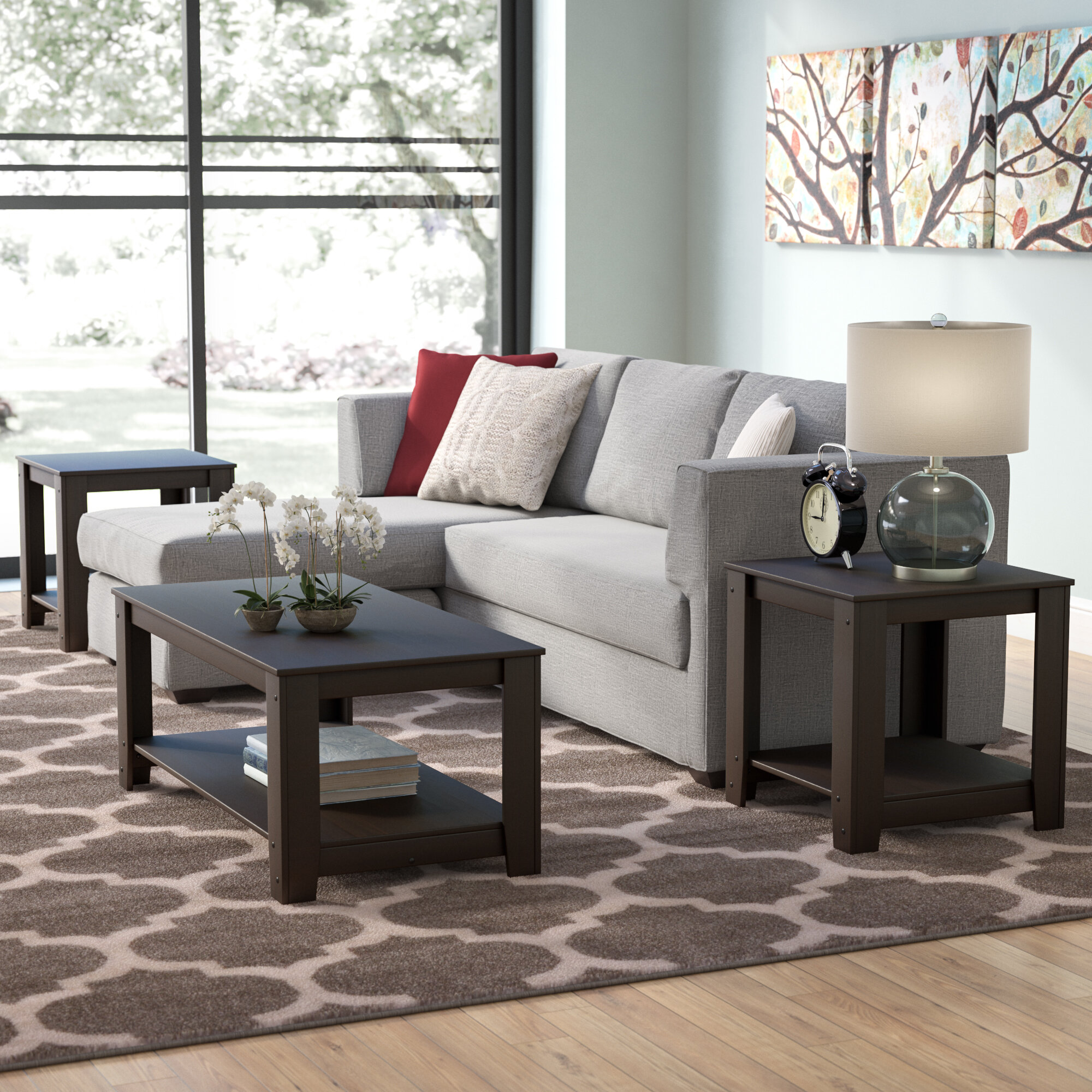 Cappuccino Coffee Table Set.Streator 3 Piece Coffee Table Set