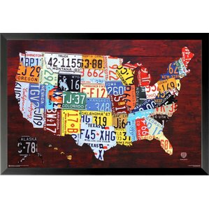 World Map Wall Art - Framed us map