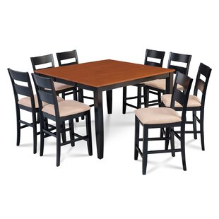Charlestown 9 Piece Counter Height Solid Wood Dining Set Fresh