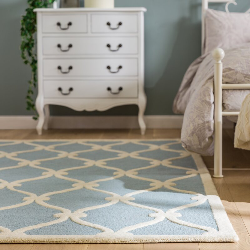 wrought studio martins hand tufted wool blue ivory area rug reviews wayfair. Black Bedroom Furniture Sets. Home Design Ideas