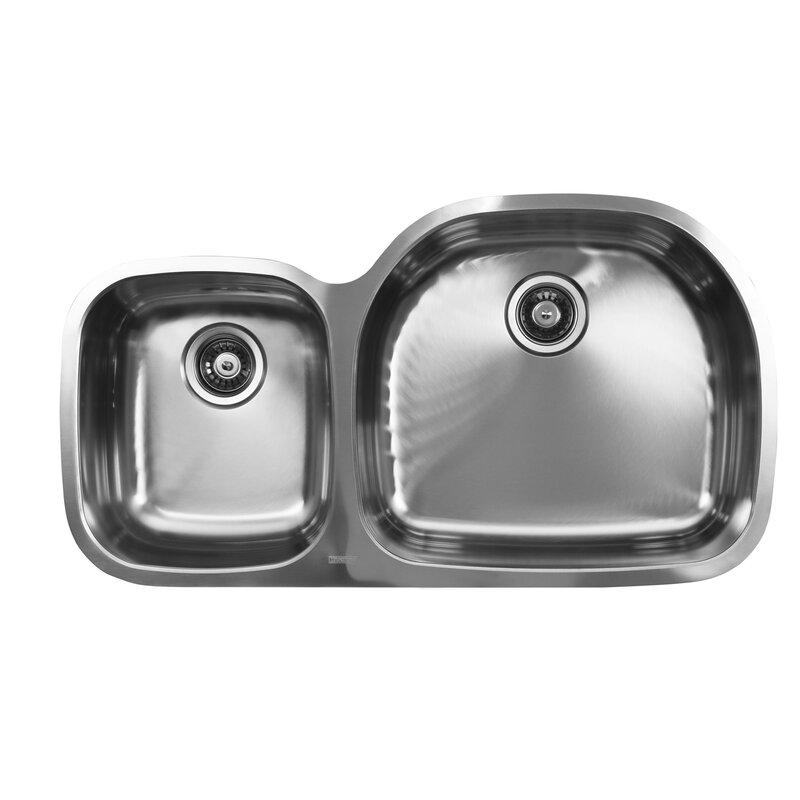 38   x 20 75   double bowl undermount kitchen sink ukinox 38   x 20 75   double bowl undermount kitchen sink  u0026 reviews      rh   wayfair com