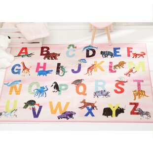 Alphabet Zoo Educational Pink Area Rug
