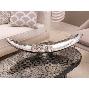 Manouba 30 Inch Long Hammered Aluminum Boat Shaped Decorative Bowl