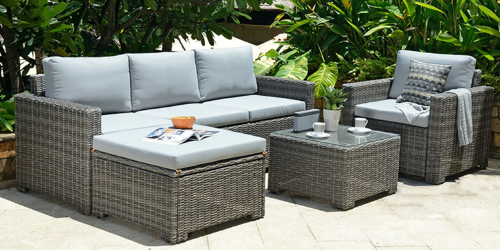 garten living 5 sitzer ecksofa set delacruz aus rattan mit polster bewertungen. Black Bedroom Furniture Sets. Home Design Ideas