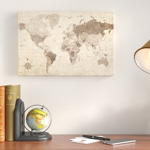 World map wall art distressed world map rectangle graphic art print on canvas gumiabroncs Choice Image