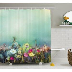 Kathi Poppy Daisy Chamomile Patterns Shower Curtain