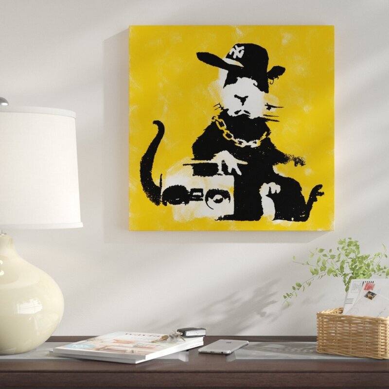 East Urban Home Gangster Rat Painting Print on Wrapped Canvas | Wayfair