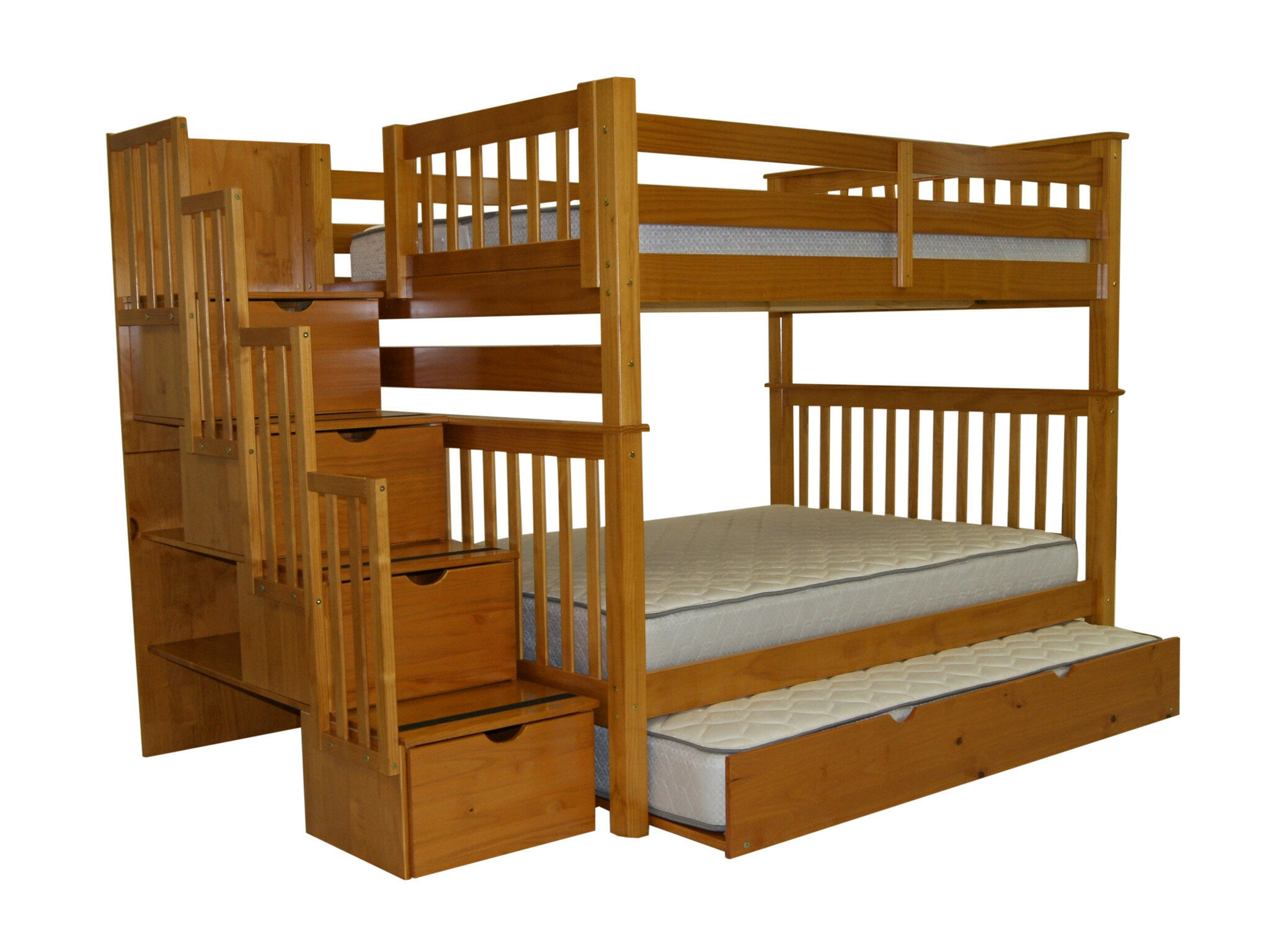 Tena Full Over Full Bed With Full Trundle Reviews Birch Lane