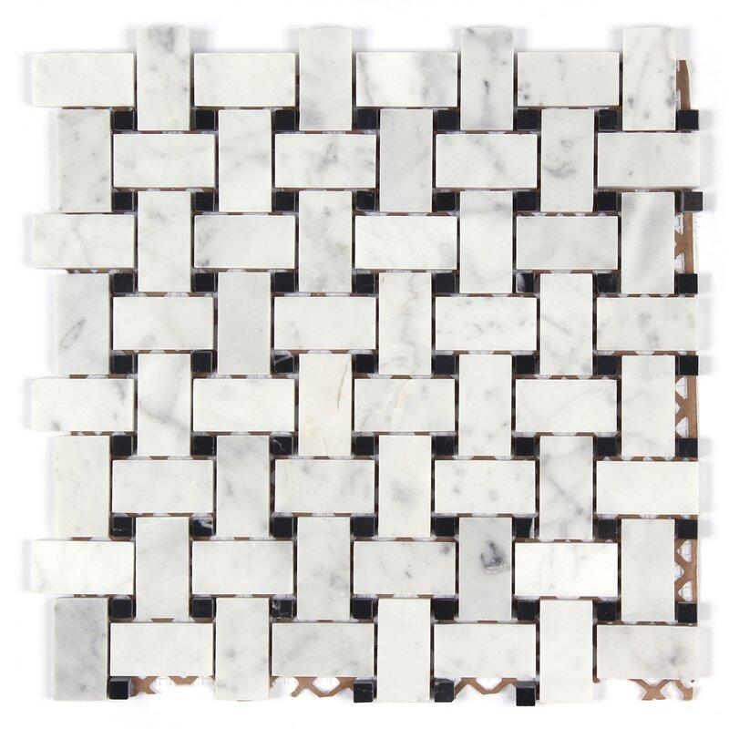 Seven Seas Bianco Carrara Basket Weave Polished Mosaic Tile In Black - Carrara basketweave tile gray dot