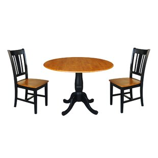 Spohn Round Top Pedestal Extending 3 Piece Drop Leaf Solid Wood Dining Set New Design