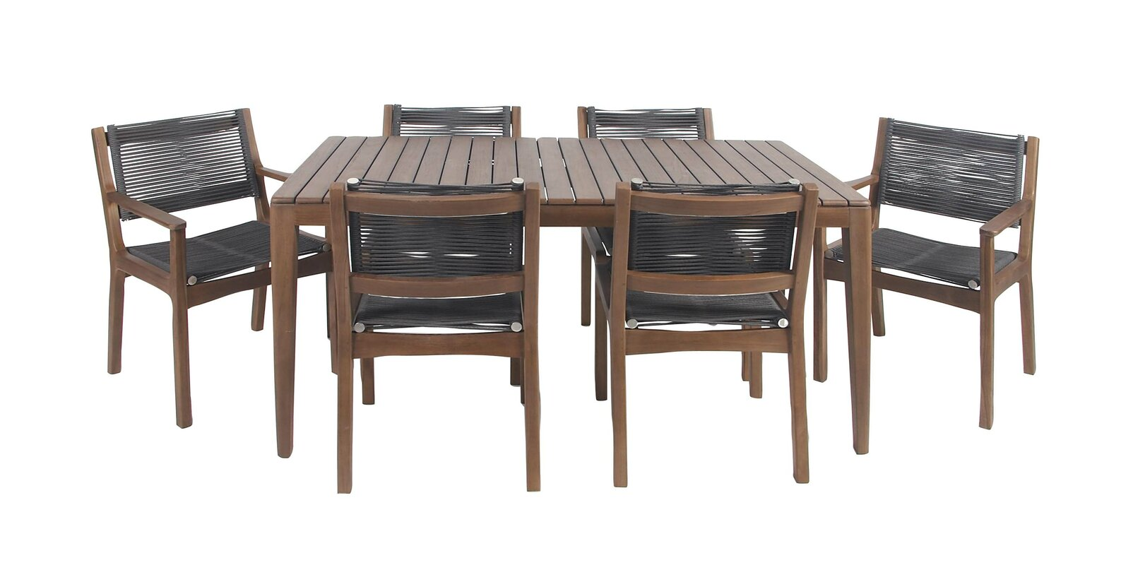 North La Junta Rustic Teak Wood And Stainless Steel 7 Piece Dining Set