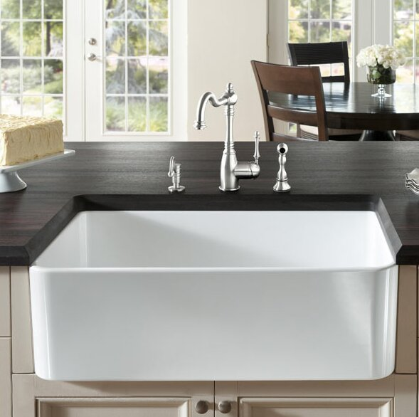 Fireclay Butler 29.5  L X 18.5  W Farmhouse Kitchen Sink & Fine Fixtures Fireclay Butler 29.5