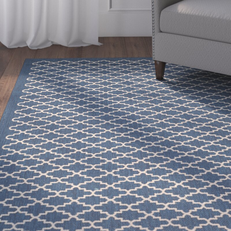 Alcott Hill Louisville Navy/Beige Indoor/Outdoor Area Rug ...