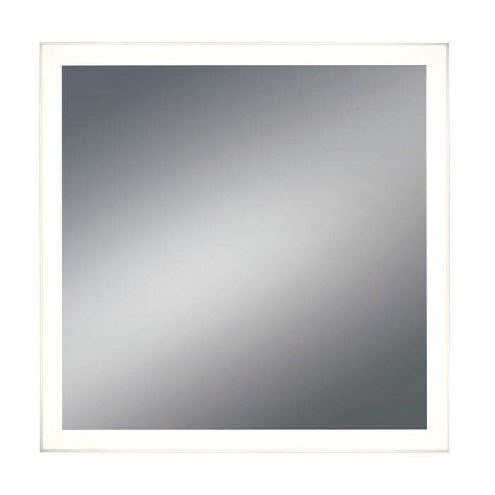 Orren Ellis Square Metal LED Bathroom Vanity Mirror