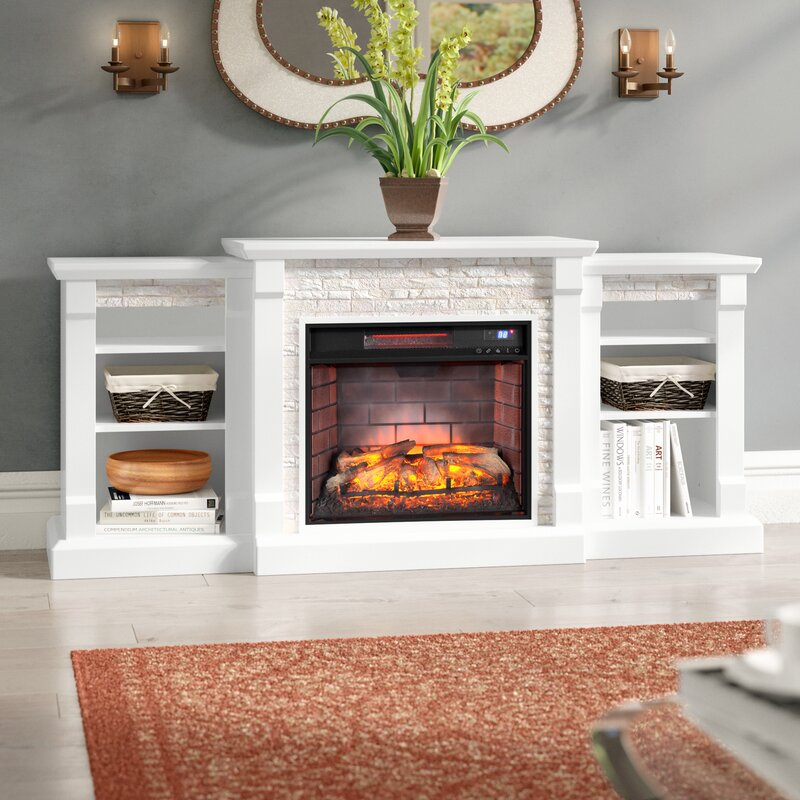 Alcott Hill Hazelwood Simulated Stone Infrared Electric Fireplace