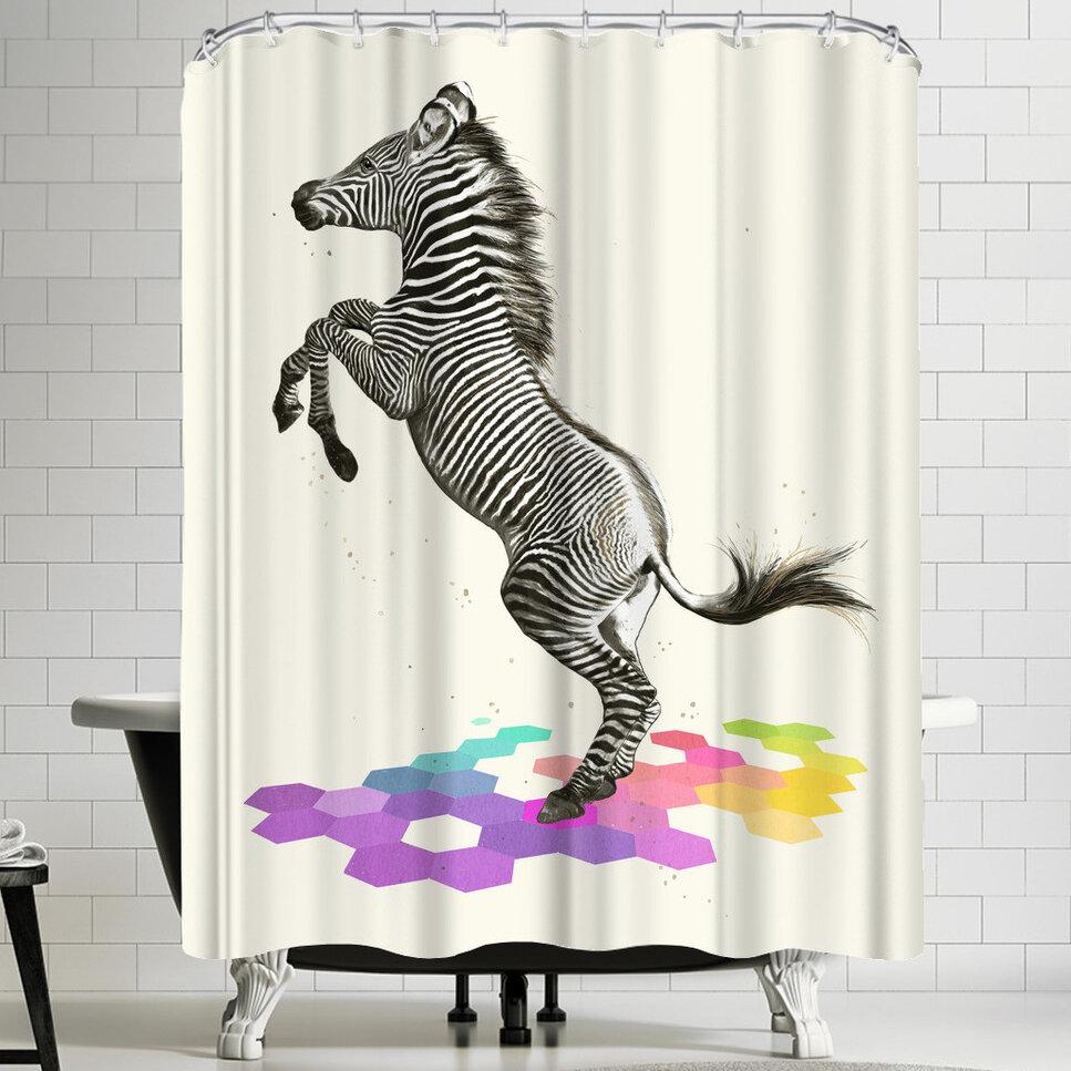 East Urban Home Laura Graves Zebra Shower Curtain