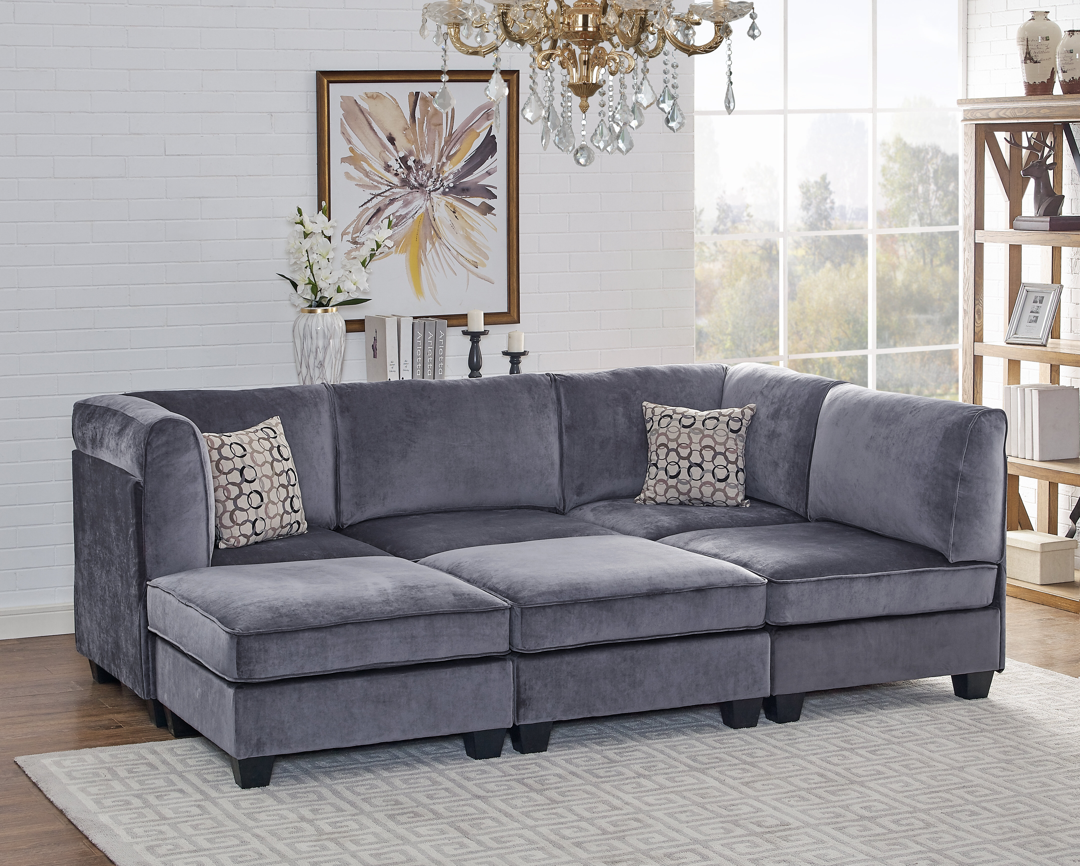 Ivy Bronx Marylou Modular Velvet Sofa Set | Wayfair