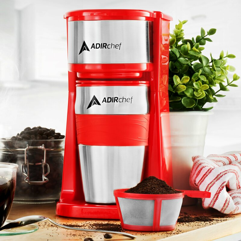 AdirChef  Grab and Go Personal Coffee Maker with 15 oz. Travel Mug  Color: Rose Red